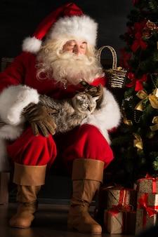 Santa claus-zitting dichtbij kerstboom en het omhelzen van zijn kat