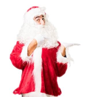 Santa die aan één van zijn handen