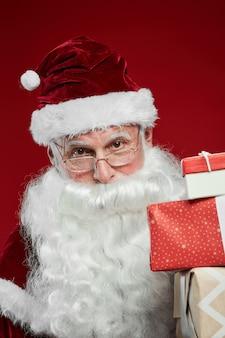 Santa geven geschenkdozen