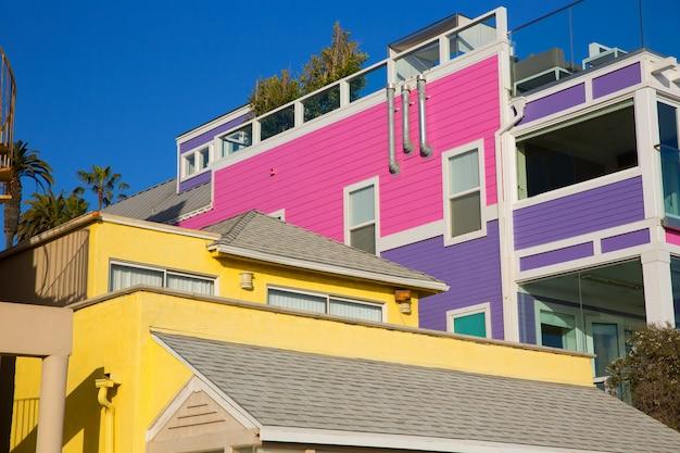 Santa monica california-strand kleurrijke huizen