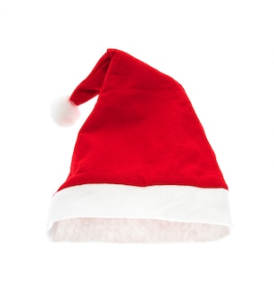 Santa rode hoed op een witte achtergrond Gratis Foto
