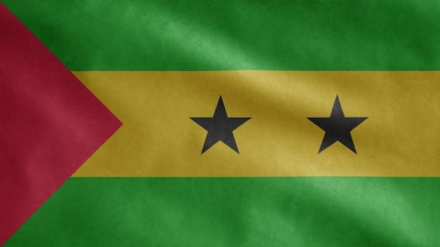 Sao tomeaanse vlag zwaaien in de wind. saint thomas en prince blazen, zachte en gladde zijde.