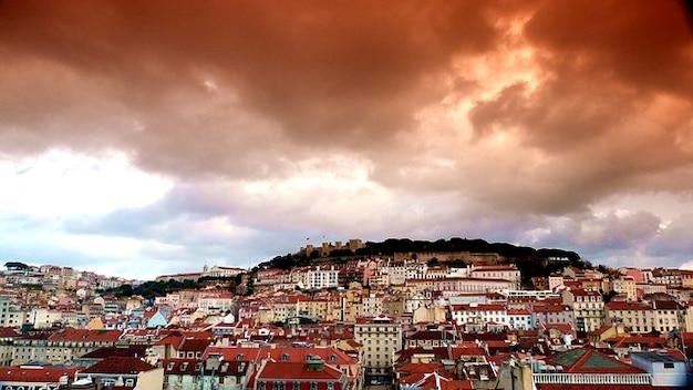 Sao wolken lissabon jorge castelo stad oud