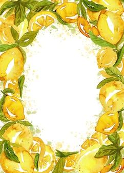 Sappige schets citroen frame met bladeren en plakjes op verf spatten.
