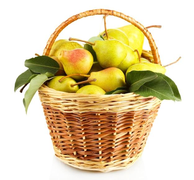 Sappige smaakvolle peren in mand geïsoleerd op wit