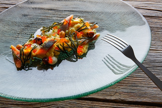 Sardines salade romige kaas maïs codium