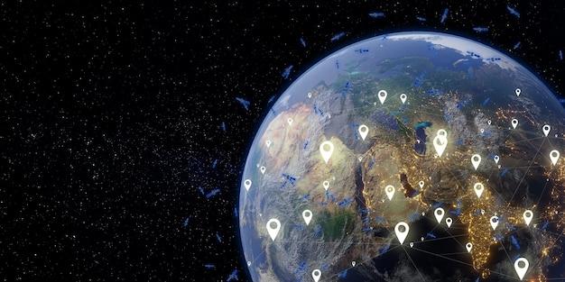 Satelliet en communicatie aarde en ruimte melkweg 3d illustratie als achtergrond
