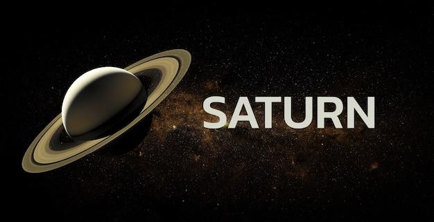 Saturnus op ruimteachtergrond. elementen van deze afbeelding geleverd door nasa.