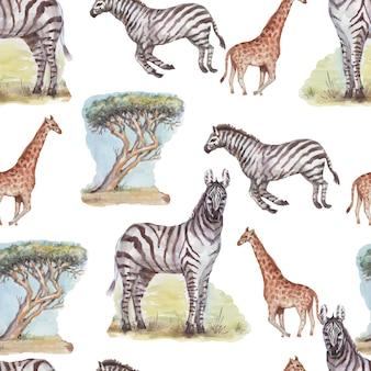 Savannah afrika zebra giraffe safari dieren aquarel hand getekende illustratie