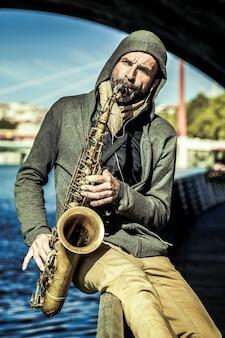 Saxofonist, lyon, frankrijk.