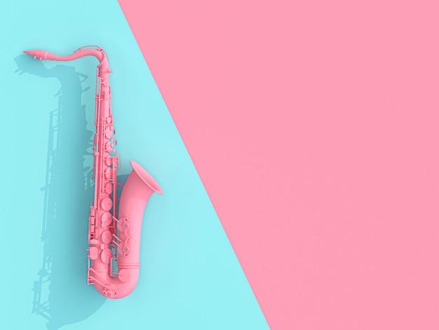 Saxofoon 3d beeld geeft op roze en blauw terug