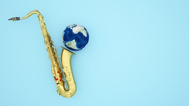 Saxofoon en aarde voor artwork jazz of blues muziek op lichtblauw - 3d illustratie