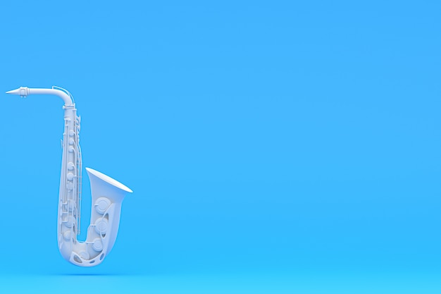 Saxofoon op een blauwe achtergrond, muziekinstrumenten. prin, achtergrond, behang. 3d render