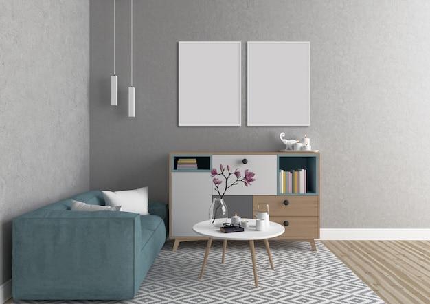 Scandinavisch interieur met dubbele frames