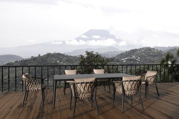 Scandinavisch modern interieur balkon met eettafel en uitzicht op de natuur 3d render illustratie