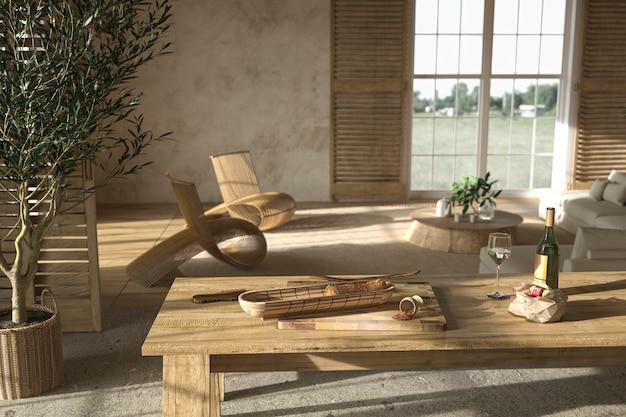 Scandinavische boerderij stijl houten woonkamer interieur en eettafel 3d render illustratie