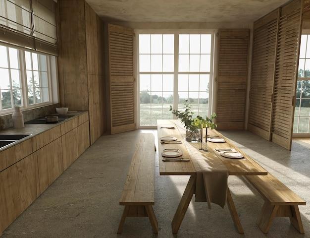 Scandinavische houten keuken in boerderijstijl en eettafel met gerechten 3d render illustratie