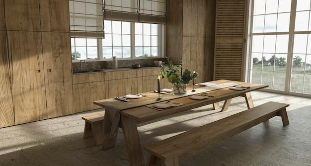 Scandinavische houten keuken in boerderijstijl met eettafel en gerechten 3d render illustratie