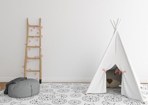 Scandinavische kinderkamer met lege muur