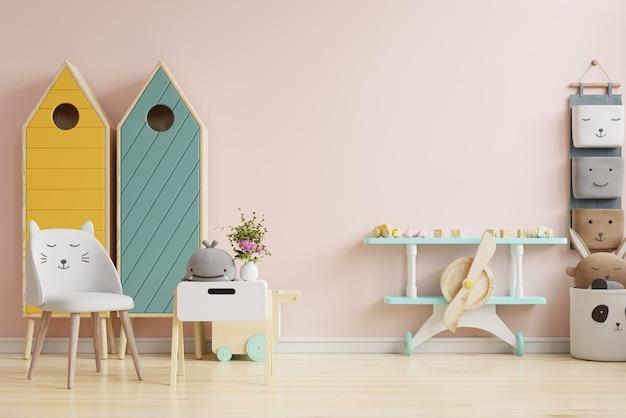 Scandinavische kinderkamer ontwerpideeën in lichtroze kleur muur achtergrond. 3d-rendering