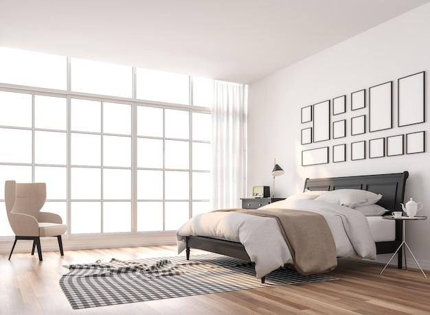 Scandinavische slaapkamer met groot raam 3d renderingericht met zwart houten meubilair