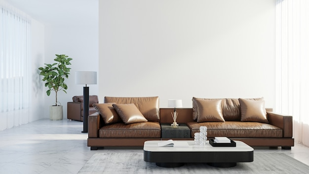 Scandinavische stijl woonkamer interieur mock up, moderne woonkamer interieur achtergrond, bruin lederen bank, 3d-rendering