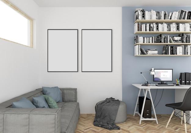 Scandinavische tienerkamer met lege dubbele frames