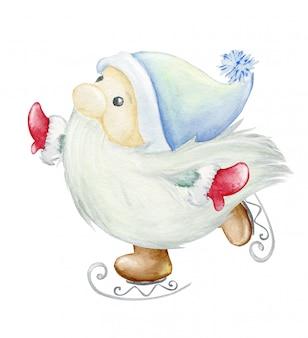 Scandinavische trol, dwerg. schaatsen waterverfillustratie, kerstmisillustratie.