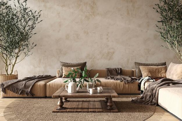 Scandinavische woonkamer interieur in boerderijstijl met natuurlijke houten meubels 3d illustratie