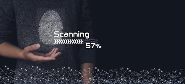 Scannen vingerafdruk, biometrische identiteit en goedkeuring. zakelijk technologie veiligheid internet