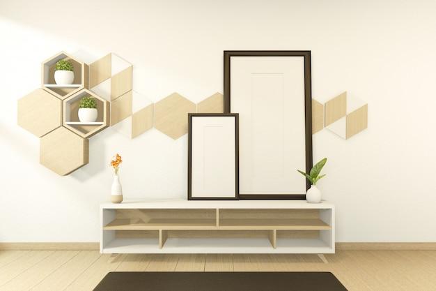 Scene kabinet houten tropische stijl kamer interieur. 3d-weergave