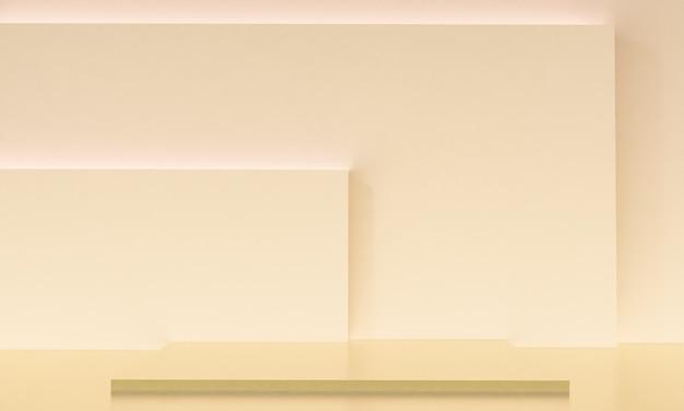 Scène met beige kleurenpodium voor mock-uppresentatie in minimalismestijl met kopieerruimte, 3d render abstract achtergrondontwerp