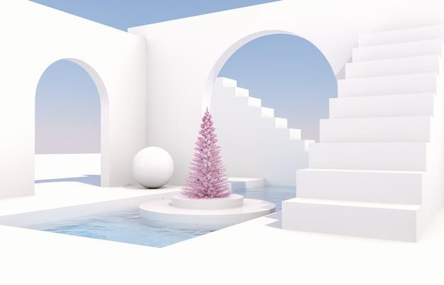 Scène met geometrische vormen, boog met een podium in natuurlijk daglicht. minimaal landschap met kerstboom
