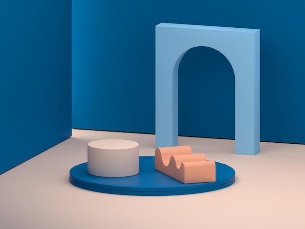 Scène met geometrische vormen in blauwe en oranje kleuren.