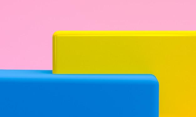 Scène met geometrische vormen, minimale abstracte 3d achtergrond, geeft terug