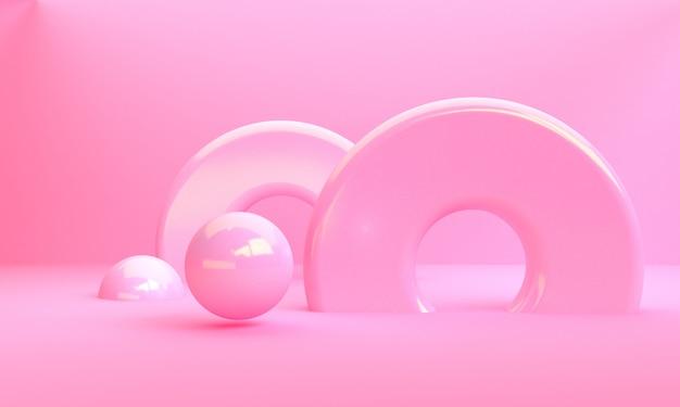 Scène met geometrische vormen minimale abstracte achtergrond 3d render