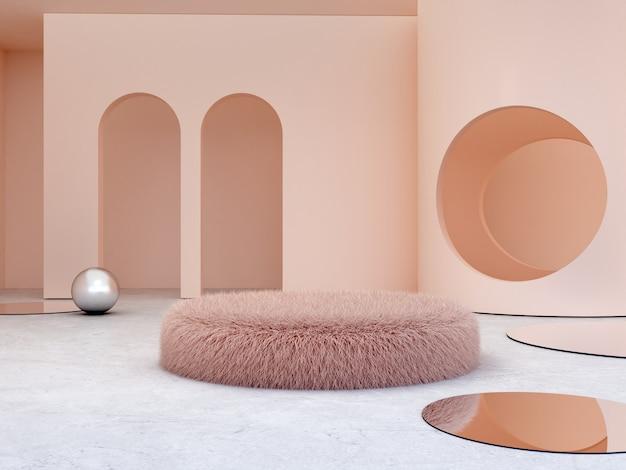Scène met geometrische vormen om cosmetische producten te tonen.