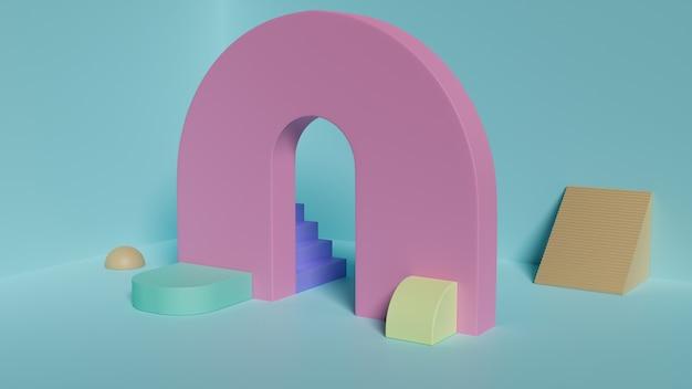 Scène met geometrische vormen