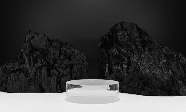 Scène met podium voor presentatie in minimalistische stijl 3d render abstract achtergrondontwerp