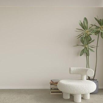 Scène met witte stoel voorkant van lege muur 3d render
