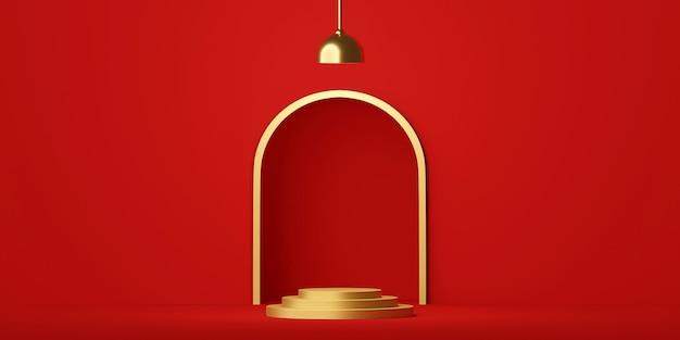 Scène van geometrisch vormpodium met lamp op het rode 3d teruggeven als achtergrond