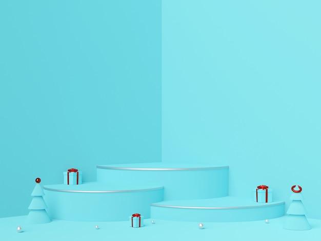 Scène van kerstmisornamenten en podium voor productreclame, het 3d teruggeven
