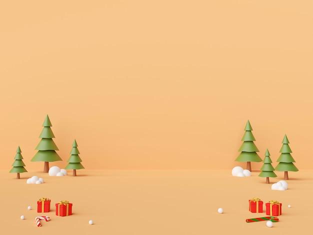 Scène van kerstmisornamenten met lege ruimte in het midden voor productreclame het 3d teruggeven
