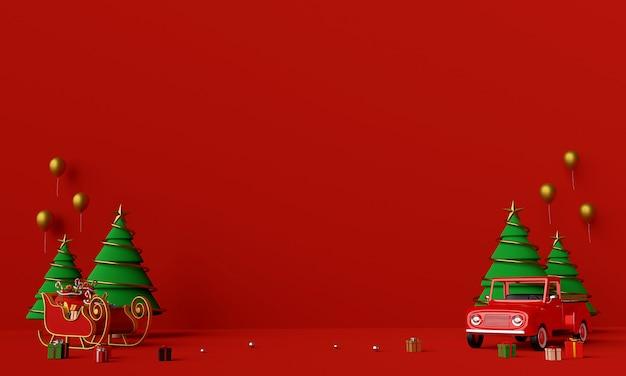 Scène van kerstvrachtwagen vol kerstcadeaus en slee achtergrond