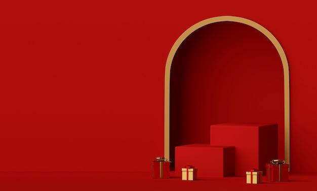 Scène van rood podium en kerstcadeau met kopie ruimte 3d-rendering