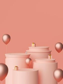 Scènepodium en giften met ballon, het 3d teruggeven