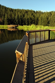Scenic lake wood deck
