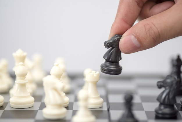 Schaak bedrijfsconcept, leider & succes