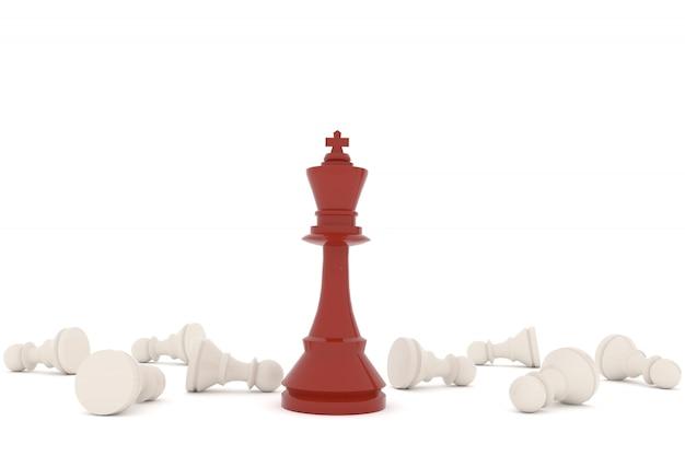 Schaak rode koning met witte pion in 3d-rendering