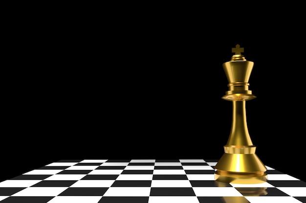 Schaak van de koning in goud in 3d-weergave